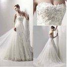 A-line Strapless Ivory Alencon Lace Wedding Gown Long Train Bridal Dress Sz4 6 8 10 12 14+Custom