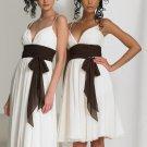 Thin Straps Short Bridesmaid Dress Ivory Chiffon Brown Sash Cocktail Dress Sz4 6 8 10 12+
