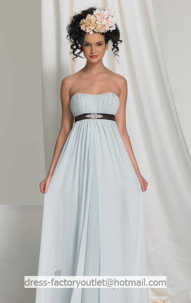 Strapless long empire bridesmaid dress blue chiffon custom for Wedding dresses less than 300