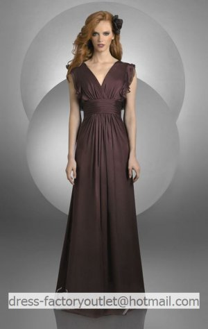 V-neck Long Bridesmaid Dress Brown Chiffon A-line Prom Evening Dress Sz4 6 8 10 12+