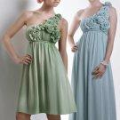 One Shoulder Long Bridesmaid Dress Blue Green Chiffon Maternity Prom Evening Dress Sz4 6 8 10 12+