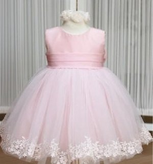White Pink Satin Lace Junior Bridesmaid Dress Flower Girl Dress Baby Dresses Sz2 3 4 5 6 7 8 9 10+