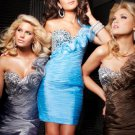 Blue Coffee Silver Evening Cocktail Dress One Shoulder Mini Prom Party Dress Sz2 4 6 8 10+