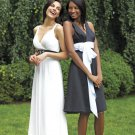 Strapless White Chiffon Black SASH Long Bridesmaid Dress Bridal Evening Dress Sz4 6 8 10 12+