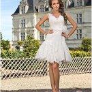 Little White Lace Bridal Wedding Dress V-neck Short Evening Prom Gown Sz4 6 8 10 12 14+