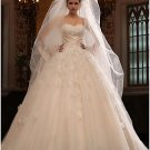 Princess Strapless Ruffled Champagne Lace Wedding Ball Gown Bridal Dress Sz4 6 8 10 12 14+Custom