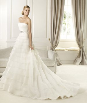 Strapless White Organza Tiered Wedding Dress Ball Gown Bridal Dress Sz6 8 10 12 14+Custom