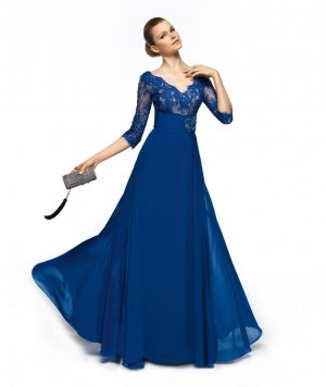 3/4 Sleeves Evening Dress A-line Royal Blue Chiffon Prom Dress Mother of the Bride Groom Dress