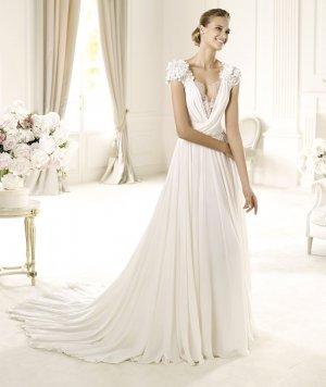 Cap Sleeve White Lace Chiffon Wedding Dress Sexy Bridal Evening Prom Dress Sz6 8 10 12 14+Custom