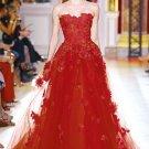 A-line Red Organza Lace Wedding Dress Strapless Bridal Gown Sz2 4 6 8 10 12 14 +Custom