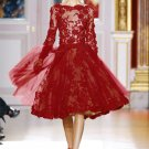 Long Sleeve Red Lace Bridal Wedding Dress Boat-neck Knee Length Evening Prom Gown Sz4 6 8 10 12 14+
