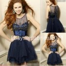 3 Colors Champagne Red Navy Blue Bridal Evening Dress Short  Prom Cocktail Dress Sz6 8 10 12 14+