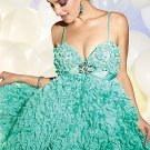 Spaghetti Straps Teal Blue Bridal Evening Dress Short  Prom Cocktail Dress Sz6 8 10 12 14+