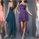Purple White Navy Blue Bridal Hi-low Evening Dress Short Cocktail Dress Sz6 8 10 12 14+