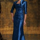 3/4 Sleeves Bolero Evening Dress A-line Blue Tafeta Prom Dress Mother of the Bride Groom Dress