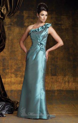 One Shoulder Evening Dress Blue Taffeta Green Prom Dress Mother of the Bride Groom Dress
