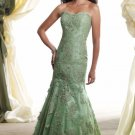Strapless Evening Dress Green Lace Prom Dress Mother of the Bride Groom Dress