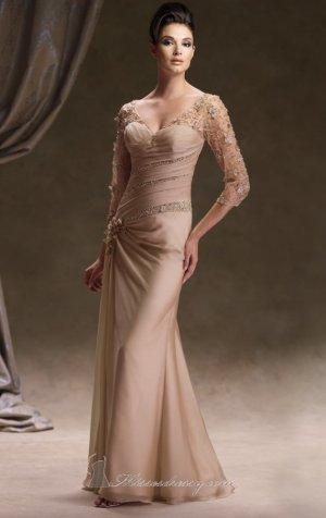 V Neck Evening Dress 3/4 Sleeve Brown Blue Champagne Prom Dress Mother of the Bride Groom Dress
