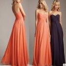 4 Pcs Free Shipping Evening Dress Prom Dress Long Coral Blue Chiffon Bridesmaid Dress Sz 2-16+Custom