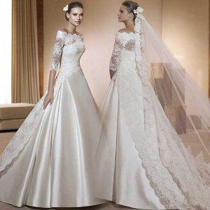 A-line White Korea Satin Lace Train 3/4 Sleeve Wedding Dress Bridal Ball Gown Sz4 6 8 10 12+