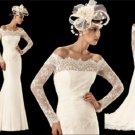 Off Shoulder Custom Ivory White Lace Chiffon Wedding Dress Long Sleeves