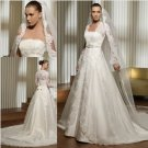 V-neck Long Sleeves Muslim Wedding Bridal Gown White Good Alencon Lace A-line Wedding Dress