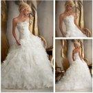 Strapless Ivory Organza Wedding Dress Cascading Ruffles Bridal Wedding Gown Sz 2-16+Custom