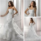 2013 New Strapless White Organza Wedding Dress Lace Flowers Bridal Wedding Gown Sz 2-16+Custom