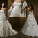 Strapless Ivory Organza Wedding Dress Gown Lace Beaded Bridal Dress Sz 2-16+Custom