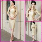 Strapless Champane Taffeta Short Mother of the Bride Dress Pleated Short Evening Dress & Jacket