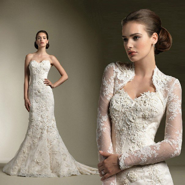White Wedding Dress Jacket: Long Sleeves Jacket Strapless Bridal Gown White Good Lace