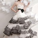Strapless Bridal Wedding Gown Black Lace White Wedding Dress Bridal Ball Gown Sz 2 4 6 8 10+