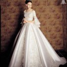 A-line White Satin Lace Bridal Gown 3/4 Sleeve Wedding DresS Bridal Ball Gown Sz 2 4 6 8 10 12+