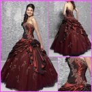 Strapless Burgundy Bridal Ball Gown Beaded Ruffles A-line Prom Quinceanera Dress Sz2-16+Custom