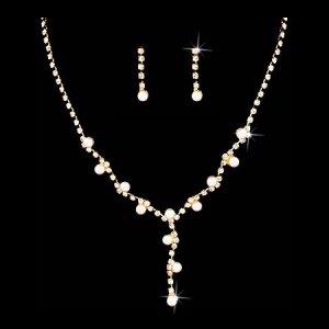Bridal Wedding Jewelry Set Crystal Rhinestone Pearl Simple Y Necklace Gold Js00260gdclwt