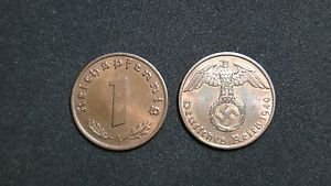GERMANY 1 PFENNIG COIN 1940 A FROM NAZI THIRD REICH TIME RRARE