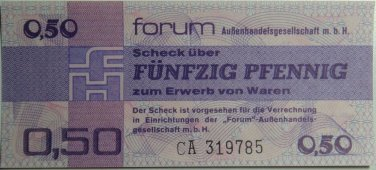 GERMANY 0.5 MARK DDR FORUM CHECK BANKNOTE 1979  UNC CONDITION XRARE NR