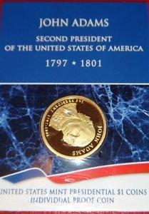 USA MINT PRESIDENTIAL $1 INDIVIDUAL PP COIN JOHN ADAMS WRAP IN PLASTIC