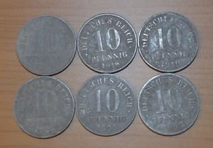 GERMANY SIX COINS LOT OF 10 PFENNIG 1917-1922 RARE VF-XF NO RESERVE