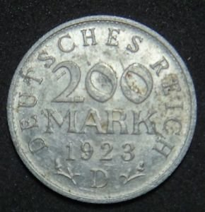 GERMANY 200 MARK ALU COIN 1923 D WEIMAR TIME RARE COIN XF
