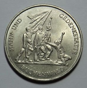EAST GERMANY DDR 10 MARKS COIN 1972 BUCHENWALD aUNC RARE