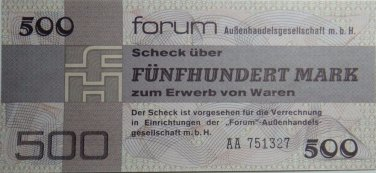GERMANY 500 MARK DDR FORUM CHECK BANKNOTE 1979  UNC CONDITION XRARE NR