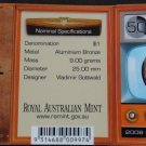 AUSTRALIA $1 UNC COIN 50 YEARS AUSTRALIAN TELEVISION 2006 RAM MINT IN COIN CARD