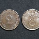 GERMANY 2 PFENNIG COIN 1940 A FROM NAZI THIRD REICH TIME RRARE