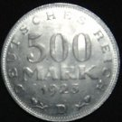GERMANY 500 MARK ALU COIN 1923 D WEIMAR TIME RARE COIN aUNC