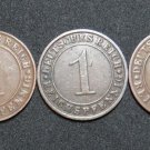 GERMANY 1 REICHSPFENNIG 5 COINS 1924 A - J  WEIMAR RARE LOT XF