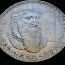 GERMANY 5 MARK UNC SILVER COIN 1969 F GERHARD MERCATOR UNC