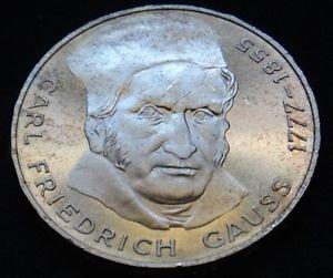 GERMANY 5 MARK UNC SILVER COIN 1977 CARL FRIEDRICH GAUSS UNC