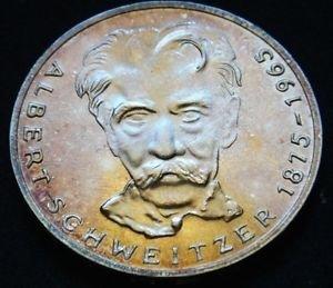 GERMANY 5 MARK UNC SILVER COIN 1975 ALBERT SCHWEITZER UNC