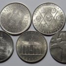 EAST GERMANY DDR 7 COIN LOT 5 & 10 MARKS 1971 - 1990 UNC RARE